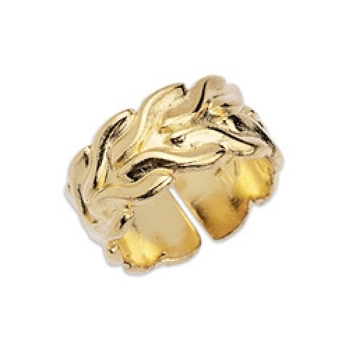Δαχτυλίδι αλυσίδα foxtail 22 x 22mm  σε μέγεθος 17mm ασημί επίχρυσο-ανα τεμάχιο