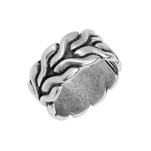 Δαχτυλίδι αλυσίδα foxtail 22 x 22mm  σε μέγεθος 17mm ασημί αντικέ-ανα τεμάχιο