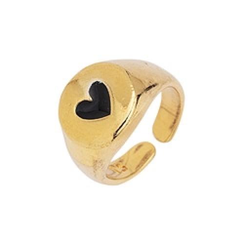 Δαχτυλίδι  Chevalier 15mm με καρδιά σε μαύρο σμάλτο επίχρυσο (24k)