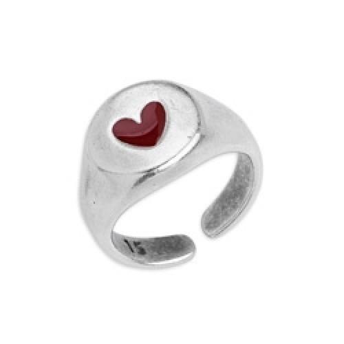 Δαχτυλίδι με καρδιά σε ασημί αντικέ με κόκκινο σμάλτο - τιμή ανά τεμάχιο