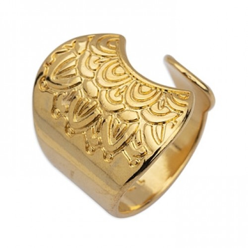 Δαχτυλίδι φαρδύ 22mm έθνικ mandala νούμερο 17 σε επίχρυσο τιμή ανα τεμάχιο