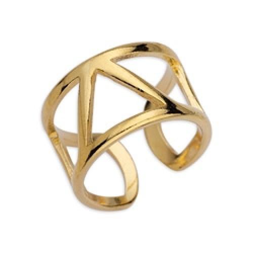 Δαχτυλίδι περίγραμμα με τρίγωνο επιχρυσωμένο 24κ - τιμή ανά τεμάχιο