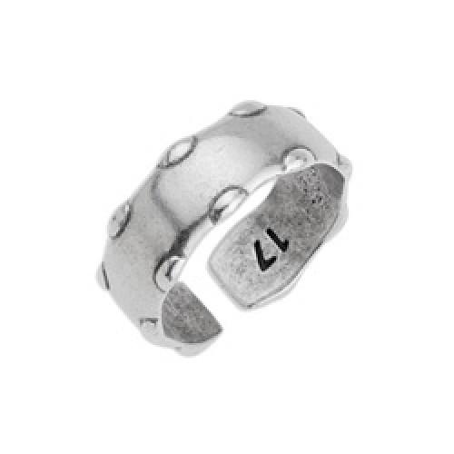 Δαχτυλίδι flat 20 x 7,4mm με μεγάλες γράνες σε νούμερο 17mm-ανοιχτό-σε ασημί αντικέ τιμή ανά τεμάχιο