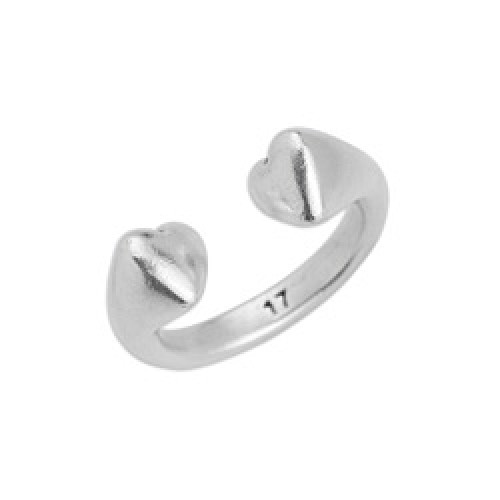 Δαχτυλίδι plain  με τελείωμα καρδιές σε ασημί αντικέ-ανα τεμάχιο