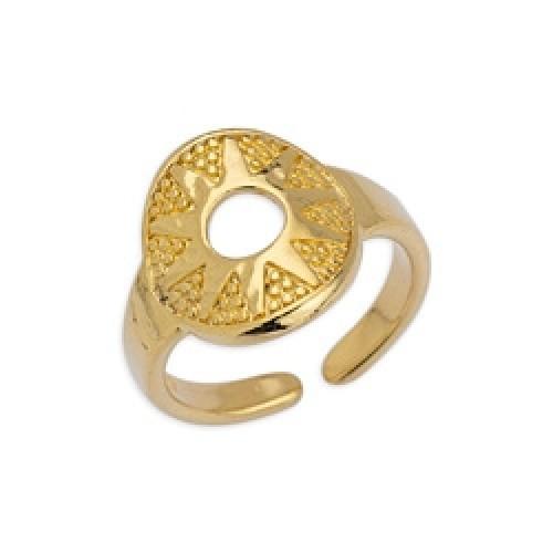 Δαχτυλίδι στρογγυλό με τρίγωνα επιχρυσωμένο (24k) - τιμή ανά τεμάχιο
