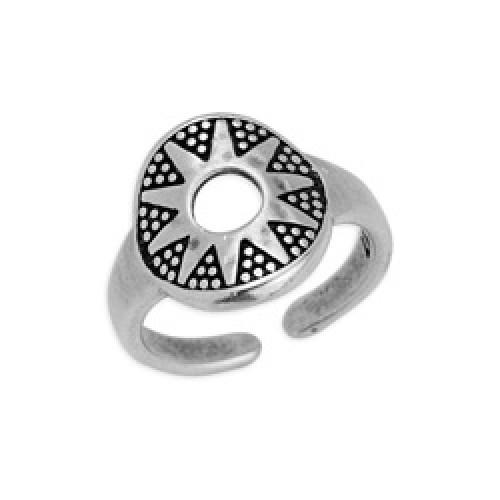 Δαχτυλίδι στρογγυλό με τρίγωνα σε ασημί αντικέ - τιμή ανά τεμάχιο