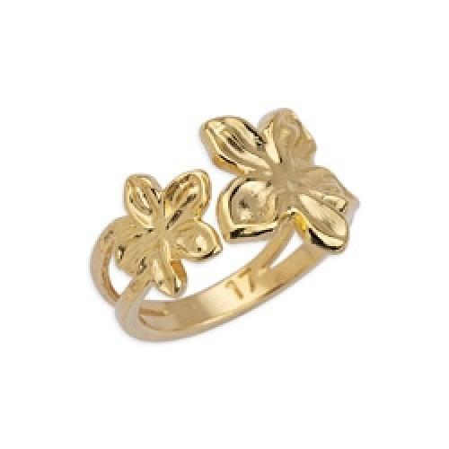 Δαχτυλίδι με λουλούδια επιχρυσωμένο (24k) - τιμή ανά τεμάχιο