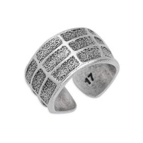 Δαχτυλίδι 17mm με τετράγωνα & ανάγλυφη υφή επάργυρο σε ασημί αντικέ - τιμή ανά τεμάχιο