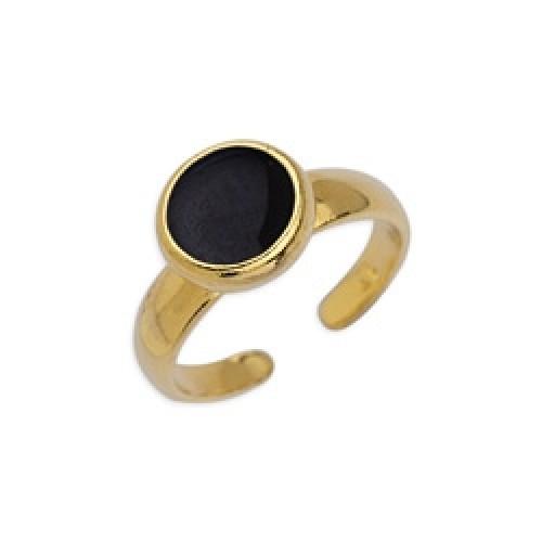 Δαχτυλίδι με καστόνι 8mm επίχρυσο με σμάλτο σε μαύρο χρώμα-ανα τεμάχιο