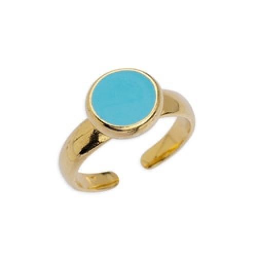 Δαχτυλίδι με καστόνι 8mm επίχρυσο με σμάλτο σε aqua χρώμα-ανα τεμάχιο