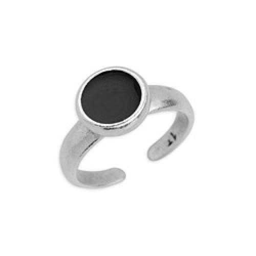 Δαχτυλίδι με καστόνι 8mm ασημί αντικέ με σμάλτο σε μαύρο χρώμα-ανα τεμάχιο
