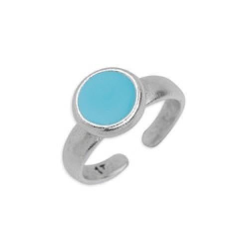 Δαχτυλίδι με καστόνι 8mm ασημί αντικέ με σμάλτο σε aqua χρώμα-ανά τεμάχιο
