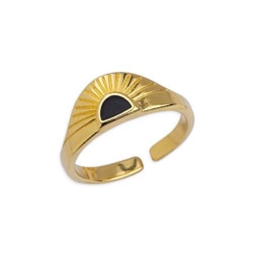 Δαχτυλίδι ανατέλλων ήλιος 17mm επιχρυσωμένο 24κ με μαύρο σμάλτο - τιμή ανά τεμάχιο