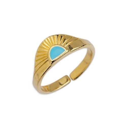 Δαχτυλίδι ανατέλλων ήλιος 17mm επιχρυσωμένο 24κ με γαλάζιο σμάλτο - τιμή ανά τεμάχιο