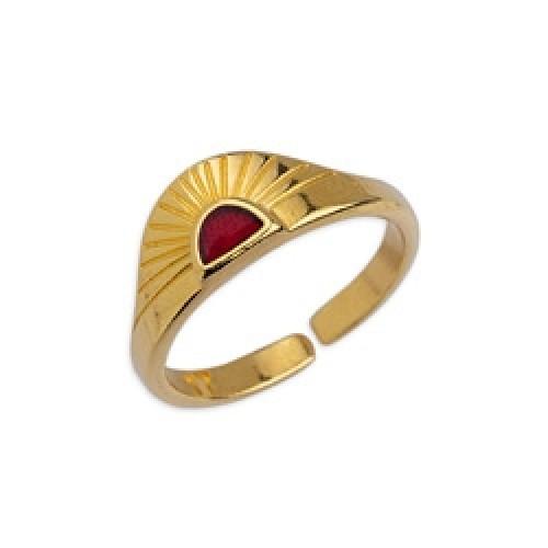 Δαχτυλίδι ανατέλλων ήλιος 17mm επιχρυσωμένο 24κ με κερασί σμάλτο - τιμή ανά τεμάχιο