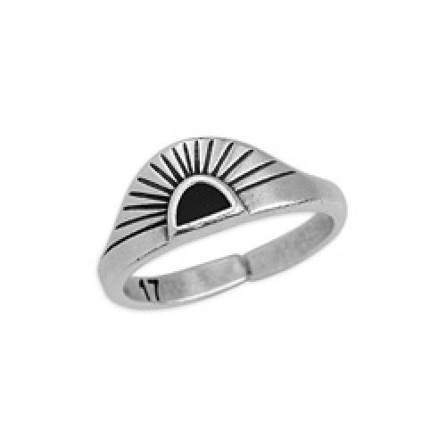 Δαχτυλίδι ανατέλλων ήλιος 17mm επάργυρο σε ασημί αντικέ με μαύρο σμάλτο - τιμή ανά τεμάχιο