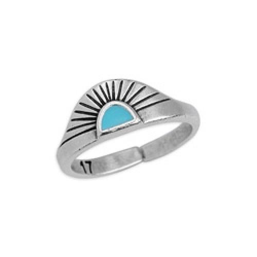 Δαχτυλίδι ανατέλλων ήλιος 17mm επάργυρο σε ασημί αντικέ με γαλάζιο σμάλτο - τιμή ανά τεμάχιο
