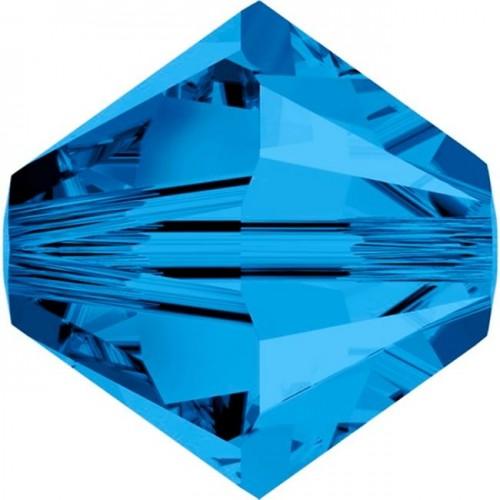 Χάνδρα Swarovski κωνική 6mm με τρύπα 1mm σε capri blue χρώμα  Τιμή ανα τεμάχιο