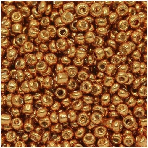 Ψιλές χαντρούλες ροκάι σε χάλκινο-πορτοκαλί μεταλλικό χρώμα  τιμή συσκευασίας 20 γραμμαρίων
