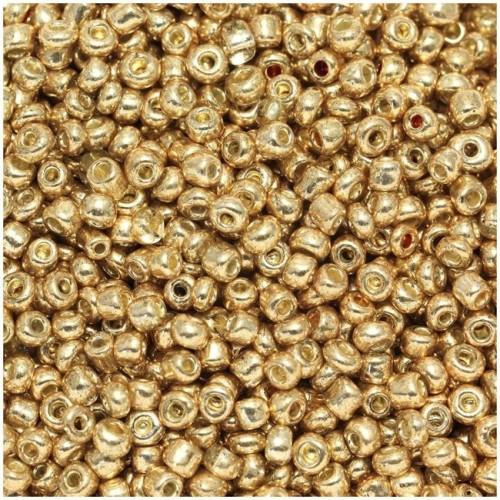 Ψιλές χαντρούλες ροκάι σε χρυσό ανοιχτό μεταλλικό χρώμα τιμή συσκευασίας 20 γραμμαρίων
