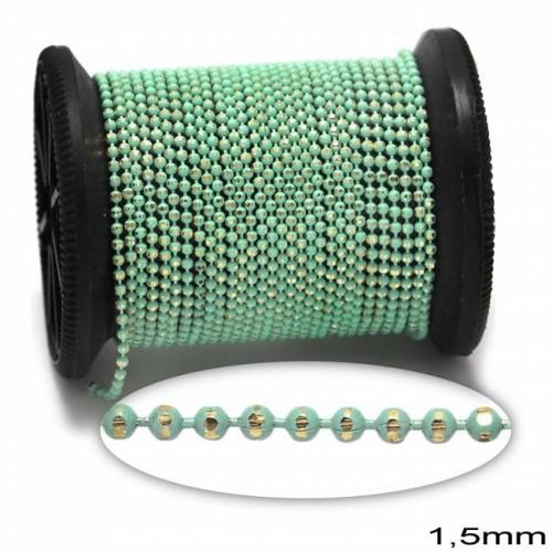 Επίχρυση μπρουτζινη αλυσίδα καζανάκι 1.5mm σε βεραμάν-ανα μέτρο