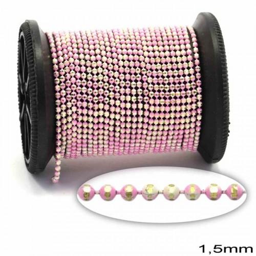 """Επίχρυση μεταλλική ΨΙΛΗ αλυσίδα """"καζανάκι""""1.5mm διαμανταρισμένη σε χρυσαφί-αποχρώσεις λευκό,ροζ     τιμή ανα μέτρο"""