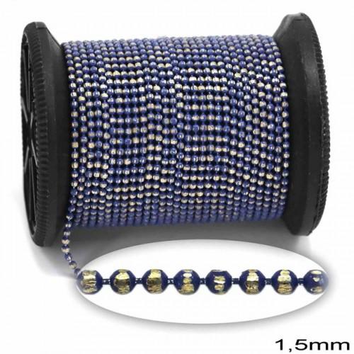 """Επίχρυση μεταλλική ΨΙΛΗ αλυσίδα """"καζανάκι""""1.5mm διαμανταρισμένη σε χρυσαφί-μπλε ρουα,μπλε     τιμή ανα μέτρο"""