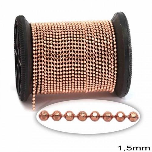 """Αλυσίδα """"καζανάκι""""1.5mm διαμανταρισμένη σε ροζ χρυσό χρώμα  τιμή ανα μέτρο"""