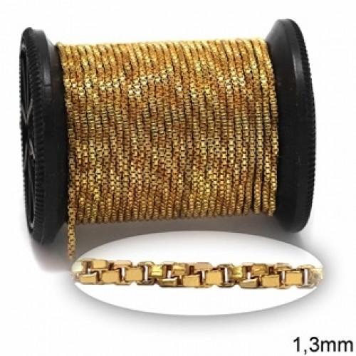 Αλυσίδα λεπτή κύβος στριφτή 1,3mm σε χρυσαφί-ανα μέτρο