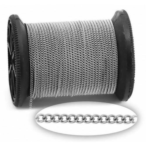 Αλυσίδα ατσάλινη γκουρμέ 2,8x2,2x0,6mm ασημί-ανα μέτρο