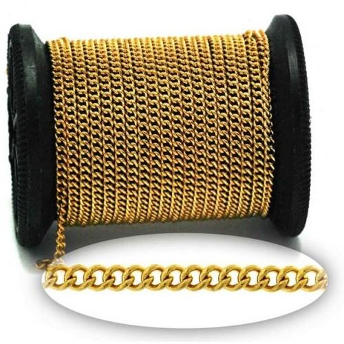 Αλυσίδα ατσάλινη γκουρμέ 2,8x2,2x0,6mm χρυσαφί-ανα μέτρο