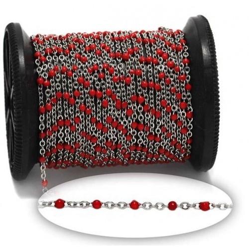 Αλυσίδα ατσάλινη 1.6mm με σμάλτο κόκκινο-τιμή ανα μέτρο