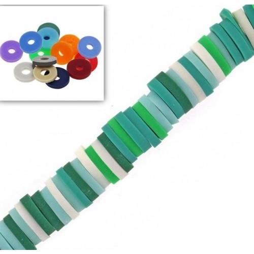 Χάντρες ροδέλες καουτσούκ 6mm σε multi πράσινο χρώμα-Τιμή ανα σειρα (40cm)