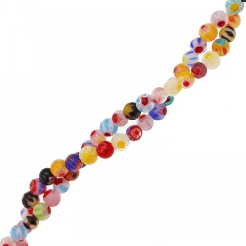 Χάνδρες Τύπου Murano Millefiori διάφορα χρώματα 4mm - τιμή ανά σειρά