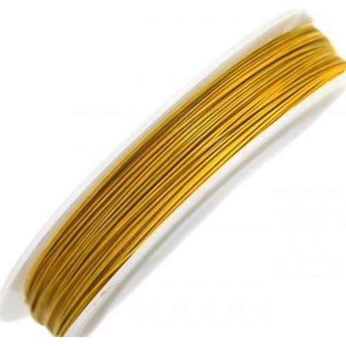 Ατσαλόσυρμα πλαστικοποιημένο 0.5mm σε ανοιχτό χρυσό τιμή ανα καρούλι 100μέτρα