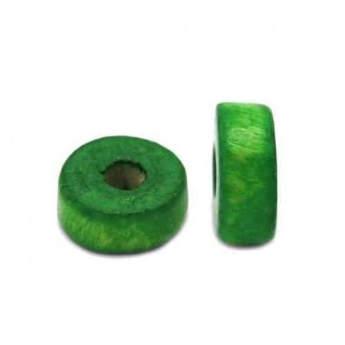 Ξύλινη ροδέλα 8x4mm σε πράσινο χρώμα-τιμή ανα τεμάχιο