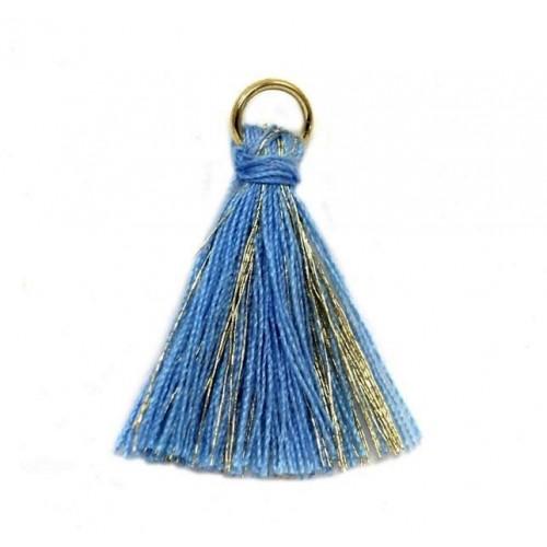 Φουντίτσα χρυσοκλωστή-γαλάζιο- ανα τεμάχιο