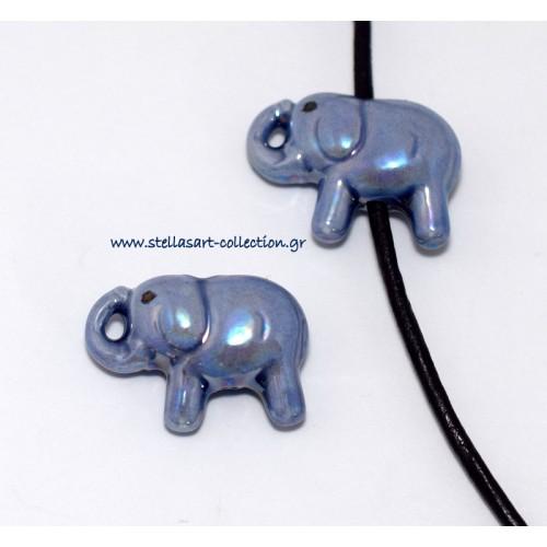 Κομψό κεραμικό ελεφαντάκι 28X16mm με διαμπερη τρύπα για κορδόνι 2mm σε μπλε γυαλιστερό     τιμή ανα τεμάχιο