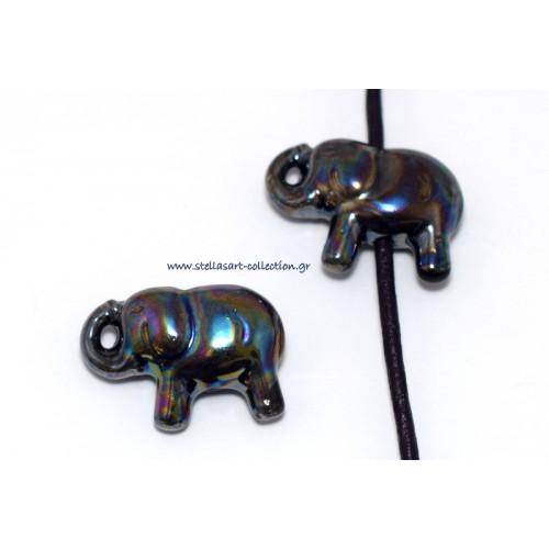 Κομψό κεραμικό ελεφαντάκι 28X16mm με διαμπερη τρύπα για κορδόνι 2mm σε ΜΑΥΡΟ με ιριδισμους γυαλιστερό     τιμή ανα τεμάχιο