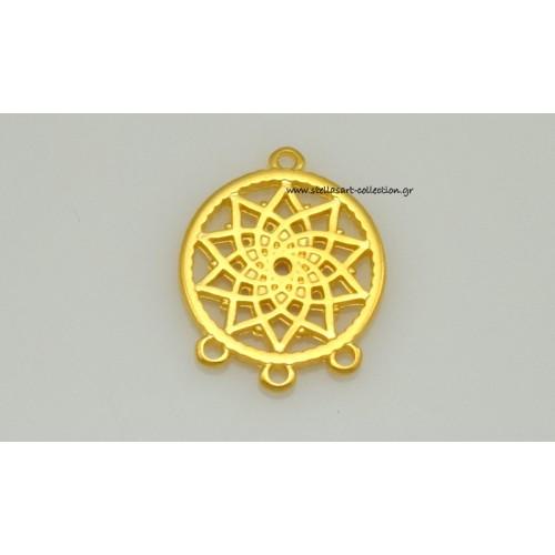 Μεταλλικό μοτίφ ονειροπαγίδα,μικρή 19,5 x 25 mm με 1 κρικάκι πάνω και τρια απο κάτω σε χρυσαφί τιμή ανα τεμάχιο
