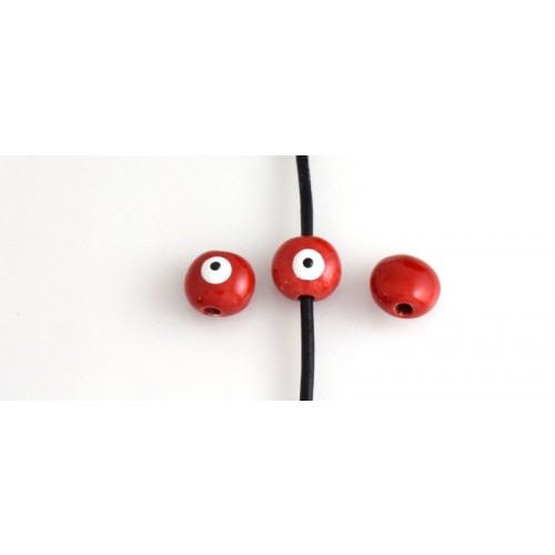 Κεραμική χάντρα μάτι 15mm με διαμπερη τρυπα 3mm σε κόκκινο άσπρο τιμή ανα τεμάχιο