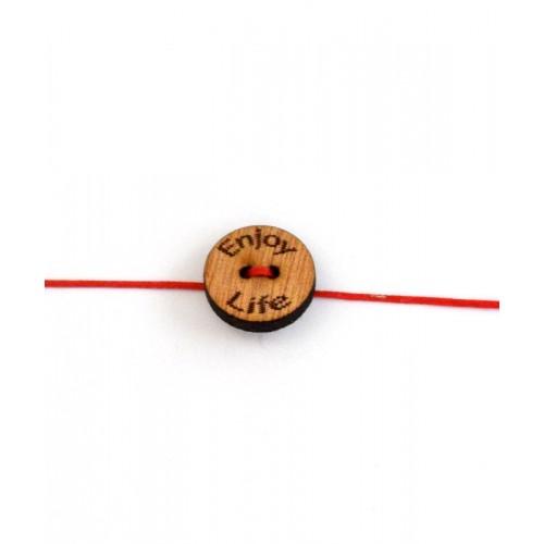 Ξυλινο στοιχειο κουμπί enjoy life με δυο τρύπες με διαμετρο 18mm σε σκουρο  χρωμα ξυλου τιμη ανα τεμάχιο