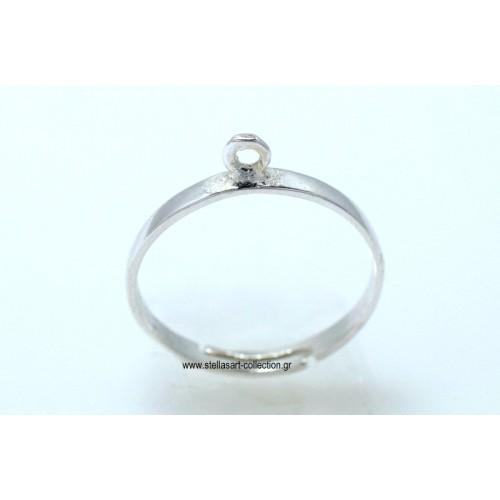 Ασημένια βάση δαχτυλιδιού με ένα κρικάκι για να κρεμάσετε οτι θέλετε και ανοιχτό απο κάτω   τιμή ανα τεμάχιο