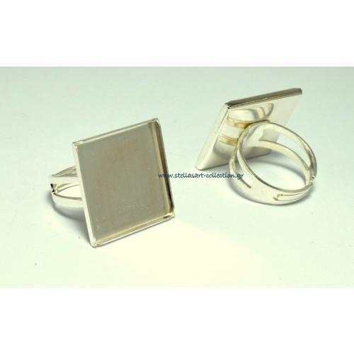 Δαχτυλίδι 21mm με τετραγωνο πλαίσιο κατάλληλο και για υγρό γυαλί από ασήμι 925 ανοιγόμενο από κάτω     τιμή ανα τεμάχιο
