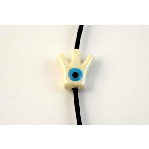 Κεραμική κορώνα με ματάκι μικρή 15X15mm σε λευκό περλέ χρώμα με διαμπερή τρύπα που χωράει κορδόνι μέχρι 2mm  τιμή ανα τεμάχιο