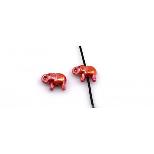 Κομψό κεραμικό ελεφαντάκι 28X16mm με διαμπερη τρύπα για κορδόνι 2mm σε κόκκινο γυαλιστερό     τιμή ανα τεμάχιο
