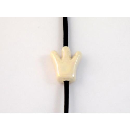 Κεραμική κορώνα μικρή 15X15mm σε λευκό περλέ χρώμα με διαμπερή τρύπα που χωράει κορδόνι μέχρι 2mm τιμή ανα τεμάχιο