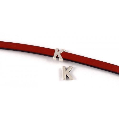 Περαστό γράμμα ''K'' 15mm  σε ασημί αντικέ κατάλληλο για πλακέ κορδόνι 10x2mm τιμή ανα τεμάχιο