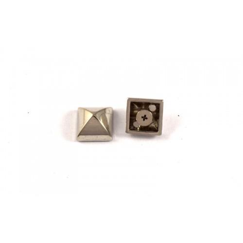 Μεγάλο τρουκ με βίδα απο κάτω 15mm σε τετράγωνο σχήμα σε ασημί ρόδιο  τιμη ανα τεμάχιο