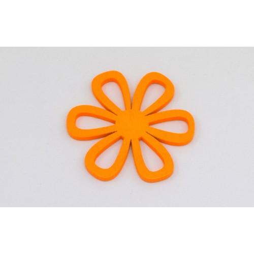 Ξύλινο μοτίφ λουλούδι σε πορτοκαλί χρώμα κατάλληλο για σκουλαρίκια-Τιμή ανα τεμάχιο